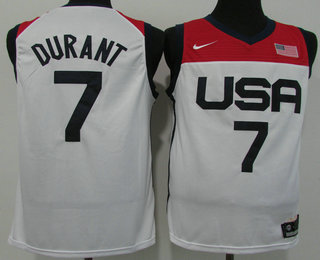 Men's USA Basketball #7 Kevin Durant 2021 White Tokyo Olympics Stitched Home Jersey
