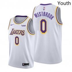 Youth Lakers Russell Westbrook 2021 trade white association edition jersey