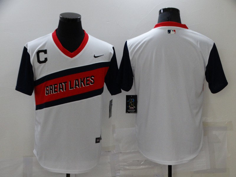 Men's Cleveland Indians Blank White 2021 Little League Classic Stitched Nike Jersey