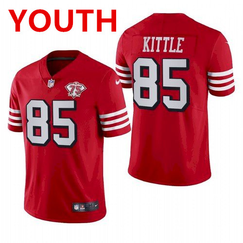 Youth San Francisco 49ers #85 george kittle 75th anniversary red throwback jersey