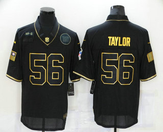 Men's New York Giants #56 Lawrence Taylor Black Gold 2020 Salute To Service Stitched NFL Nike Limited Jersey