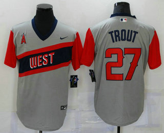 Men's Los Angeles Angels Of Anaheim #27 Mike Trout Grey 2021 Little League Classic Stitched Nike Jersey
