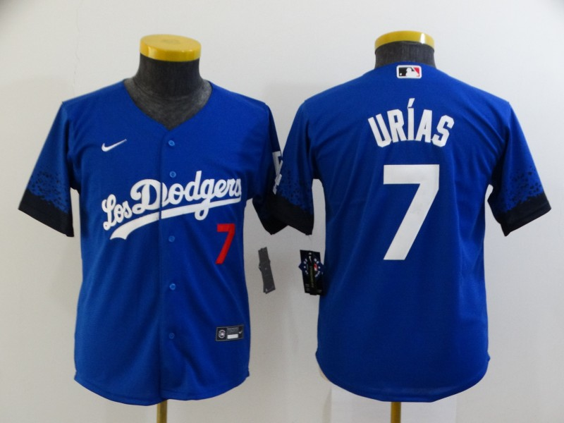 Youth Los Angeles Dodgers #7 Julio Urias Blue 2021 City Connect Number Cool Base Stitched Jersey