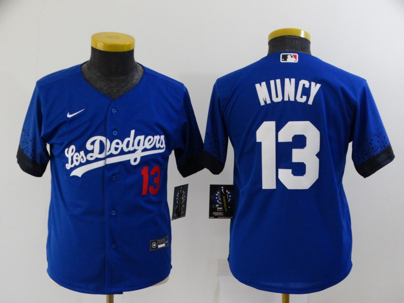 Youth Los Angeles Dodgers #13 Max Muncy Blue 2021 City Connect Number Cool Base Stitched Jersey