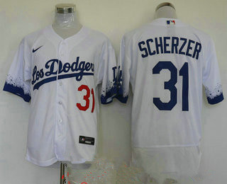 men's los angeles dodgers #31 max scherzer white 2021 city connect flex base stitched jersey