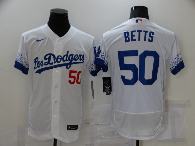 Men's Los Angeles Dodgers #50 Mookie Betts White 2021 City Connect Flex Base Stitched Jersey