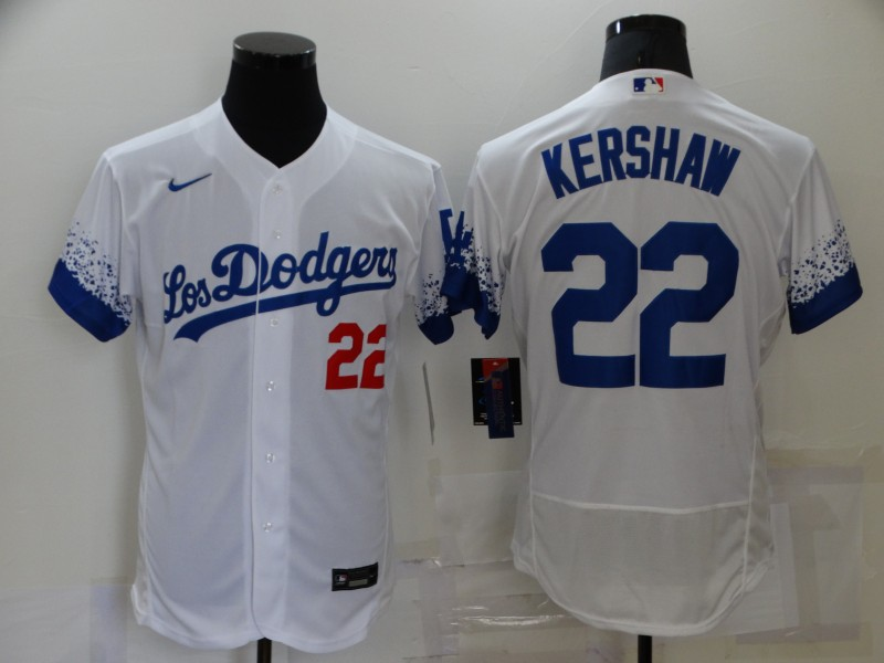 Men's Los Angeles Dodgers #22 Clayton Kershaw White 2021 City Connect Flex Base Stitched Jersey