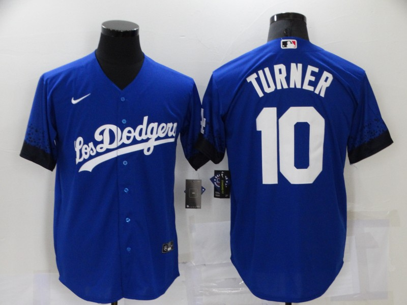 Men's Los Angeles Dodgers #10 Justin Turner Blue 2021 City Connect Cool Base Stitched Jersey