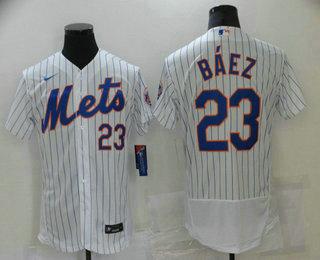 Men's New York Mets #23 Javier Baez White Stitched MLB Flex Base Nike Jersey