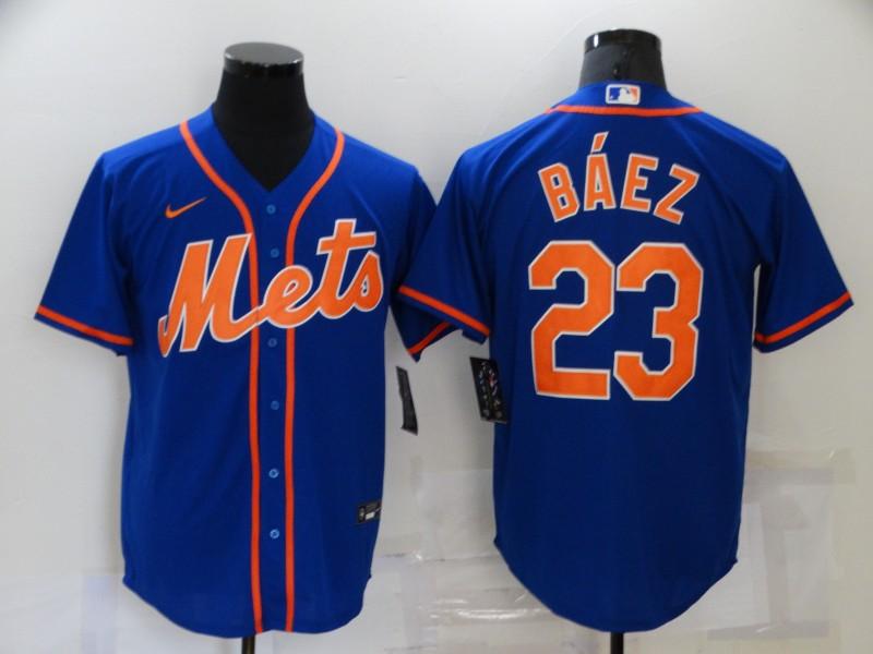 Men's New York Mets #23 Javier Baez Blue Stitched MLB Cool Base Nike Jersey