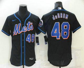 Men's New York Mets #23 Javier Baez Black Stitched MLB Flex Base Nike Jersey