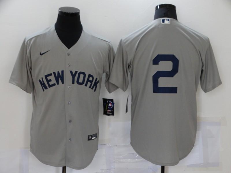 Men's New York Yankees #2 Derek Jeter 2021 Grey Field of Dreams Cool Base Stitched Baseball Jersey