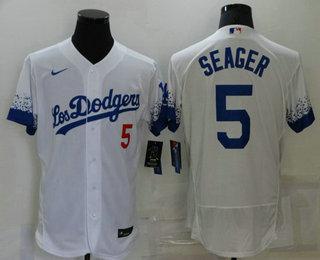 Men's Los Angeles Dodgers #5 Corey Seager White 2021 City Connect Flex Base Stitched Jersey