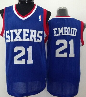 on sale fb33c d2f4f Philadelphia 76ers #21 Joel Embiid Blue Swingman Jersey on ...