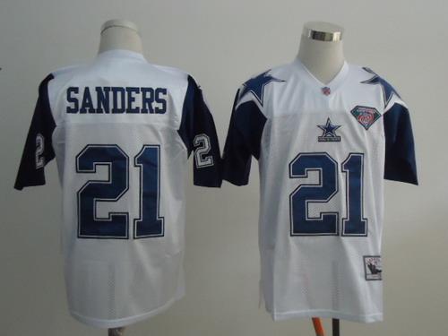 wholesale dealer 82967 4d720 Dallas Cowboys #21 Deion Sanders White Thanksgivings 75TH ...
