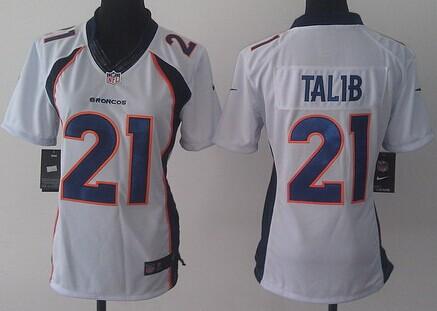 nike denver broncos 21 aqib talib 2013 white limited womens jersey