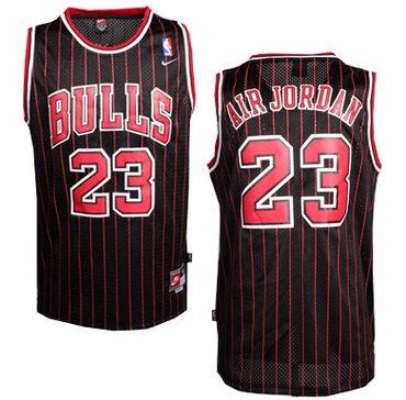 sports shoes e70ab e20ea Chicago Bulls #23 Air Jordan Nickname Black Pinstripe ...