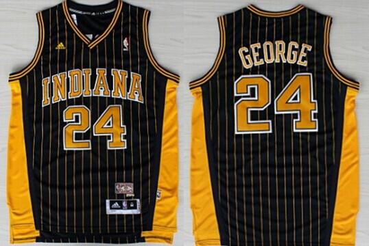 Indiana Pacers  24 Paul George Navy Blue Pinstirpe Swingman Throwback Jersey 4c23b5eab