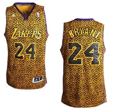 Los Angeles Lakers #24 Kobe Bryant Leopard Print Fashion Jersey on ...