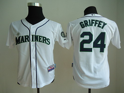 huge selection of ed925 aef7b Seattle Mariners #24 Ken Griffey White Kids Jersey on sale ...