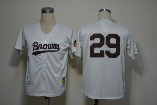 St. Louis Browns #29 Satchel Paige 1952 Cream Throwback Jersey