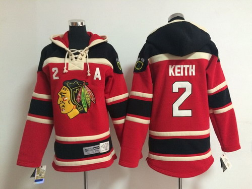 Old Time Hockey Chicago Blackhawks #2 Duncan Keith Red Kids Hoodie