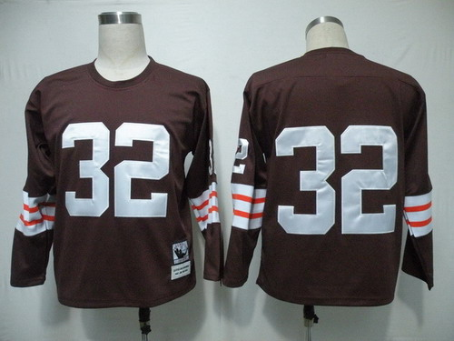 e0c3c214e Cleveland Browns  32 Jim Brown Brown Long-Sleeved Throwback Jersey ...