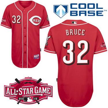 Cincinnati Reds #32 Jay Bruce 2015 All-Star Patch Red Jersey