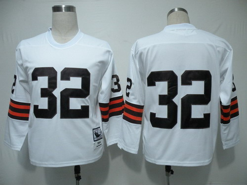 sports shoes 20867 88c17 Cleveland Browns #32 Jim Brown White Long-Sleeved Throwback ...