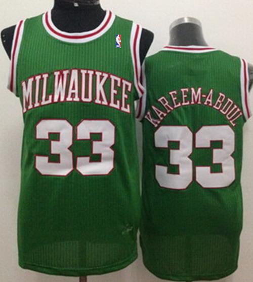 differently 4a471 dd664 Milwaukee Bucks #33 Kareem Abdul-Jabbar Green Swingman ...
