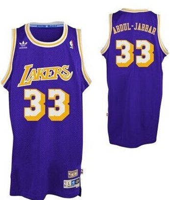 buy online 318a9 3a6a0 Los Angeles Lakers #33 Kareem Abdul-Jabbar Purple Swingman ...
