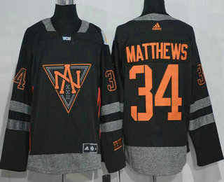 Men's North America Hockey #34 Auston Matthews Black 2016 World Cup of Hockey Stitched adidas WCH Game Jersey