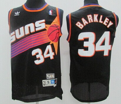 sports shoes b39d4 ceed7 Phoenix Suns #34 Charles Barkley Black Swingman Throwback ...