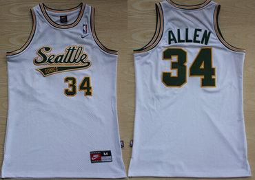 Seattle Supersonics #34 Ray Allen White AU Swingman Jersey on sale ...