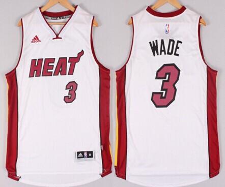 ... miami heat 3 dwyane wade revolution 30 swingman 2014 new white jersey d1726fc5b