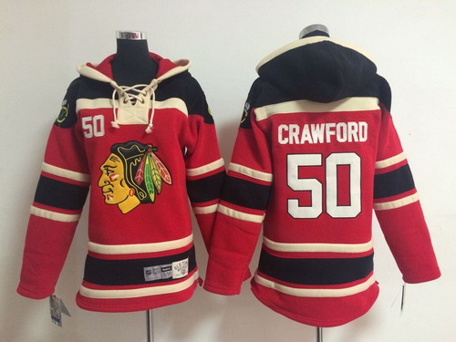 Old Time Hockey Chicago Blackhawks #50 Corey Crawford Red Kids Hoodie