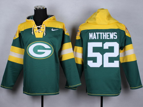 Nike Green Bay Packers #52 Clay Matthews 2014 Green Hoodie