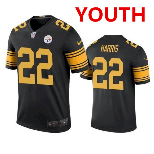 Youth pittsburgh steelers #22 najee harris black color rush limited jersey
