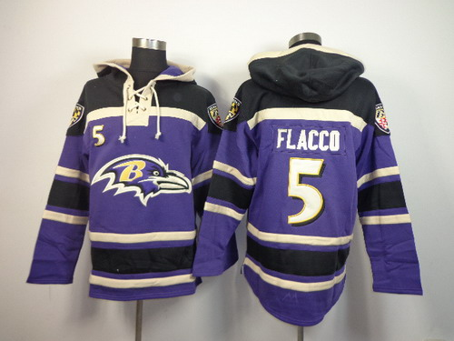 Baltimore Ravens #5 Joe Flacco 2014 Purple Hoodie