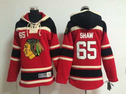 Old Time Hockey Chicago Blackhawks #65 Andrew Shaw Red Kids Hoodie