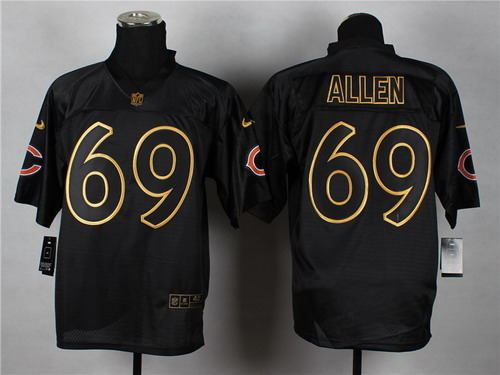 nike chicago bears 69 jared allen 2014 all black gold elite jersey