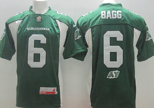 CFL Saskatchewan Roughriders #6 Rob Bagg Green Jersey