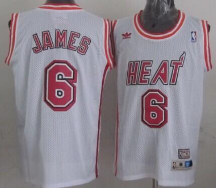 Miami Heat #6 LeBron James White Swingman Throwback Jersey on sale ...