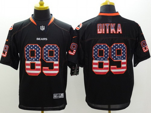 nike chicago bears 89 mike ditka 2014 usa flag fashion black elite jersey