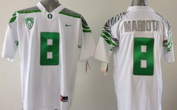wholesale dealer 83638 4f7f4 Oregon Ducks #8 Marcus Mariota 2014 White Limited Kids ...
