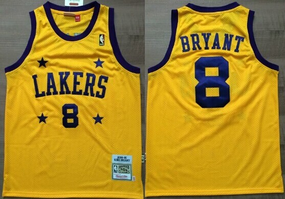 classic fit ab3e4 1fe33 Los Angeles Lakers #8 Kobe Bryant Yellow With Purple Star ...