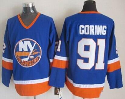 new concept 71da7 09b1f New York Islanders #91 Butch Goring Light Blue Throwback CCM ...