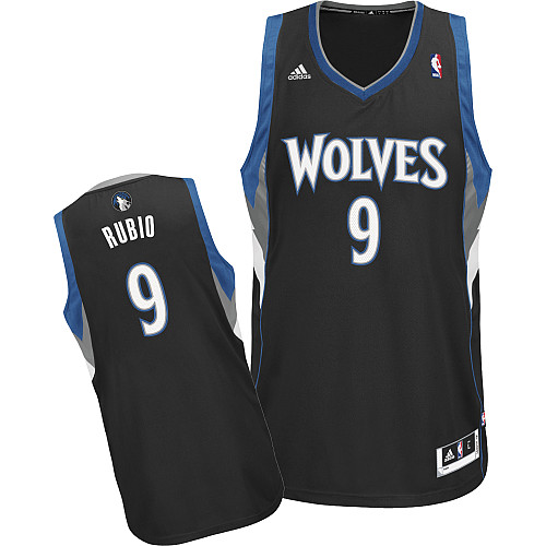 buy popular 55ec7 c5139 Minnesota Timberwolves #9 Ricky Rubio Black Swingman Jersey ...