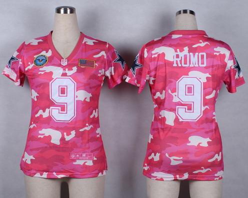 a372939ab15 Nike Dallas Cowboys #9 Tony Romo 2014 Salute to Service Pink Camo Womens  Jersey
