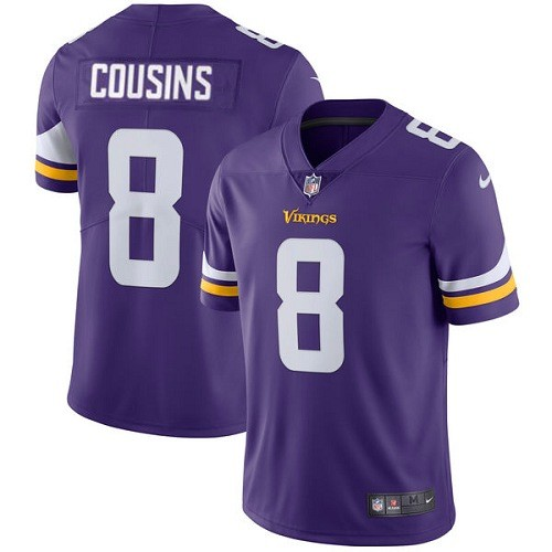 Men's Minnesota Vikings #8 Kirk Cousins Limited Purple Vapor Untouchable Jersey